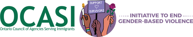 Logo of OCASI's Initiative to End Gender-Based Violence in Immigrant and Refugee Communities