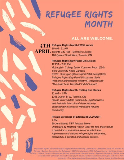 Flyer of Refugee Rights Month