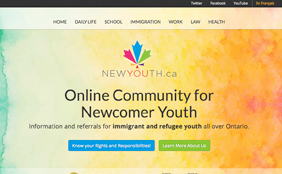 Web screenshot of NewYouth.ca